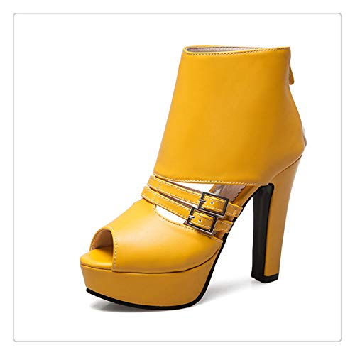 New Large Size 34-50 Fashion Buckle Decoration Summer Shoes Woman Sandals High Heels Platform Party Sandal Woman Yellow 6.5