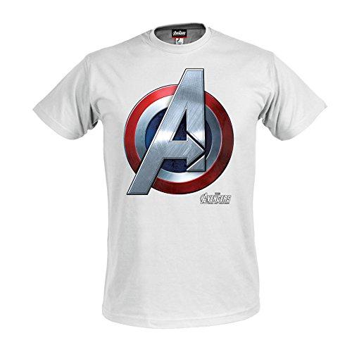 Preisvergleich Produktbild Avengers Age Of Ultron - Captain America Logo T-Shirt weiß XXL