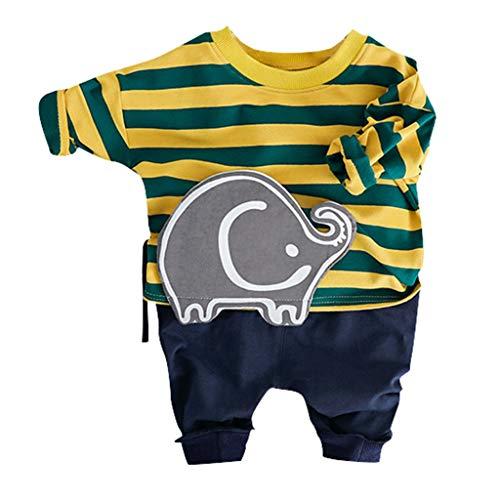 LEXUPE Kleinkind Kinder Baby Jungen Cartoon Pullover T-Shirt Tops Jeans Hosen Outfits Set(Gelb,XL/12)