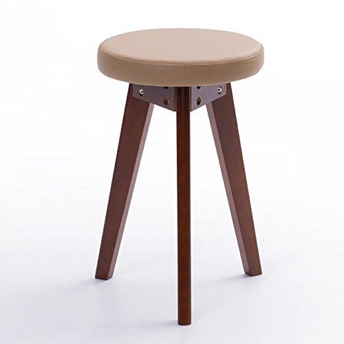 Stühle MEIDUO Haltbare Hocker Haushaltswaren Rubberwood Round Hocker PVC-Kissen Dressing Hocker in 5 Farben für den Innenbereich im Freien (Farbe : Braun, größe : B) (Brown Frühstück Kissen)