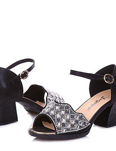 ShangYi Chaussures de danse (Noir/Argent/Or) - Non personnalisable - Gros talon - Paillettes scintillantes - Moderne Black