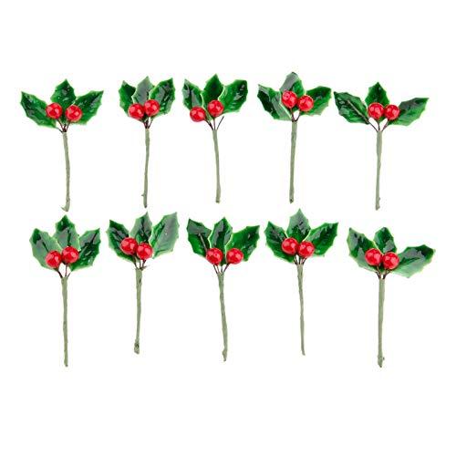 Yetaha artificiale frutta piccole bacche di fiori finti Stamen con foglie verdi per festa di Natale Decorazioni fai da te ornamenti per capelli Type3 10 Pcs Type 3