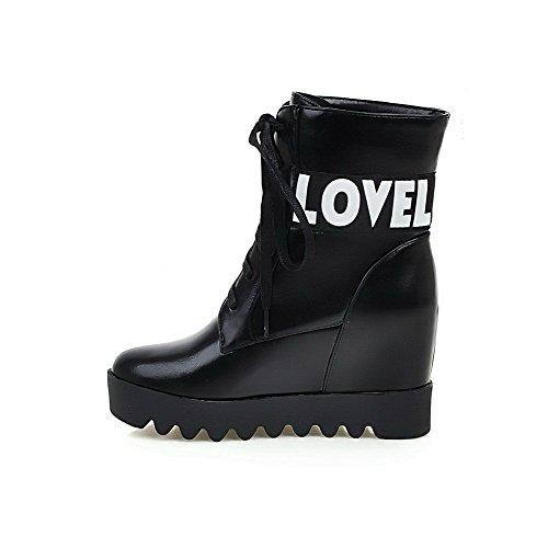 AgooLar Damen Weiches Material Rund Zehe Gemischte Farbe Niedrig-Spitze Hoher Absatz Stiefel Schwarz