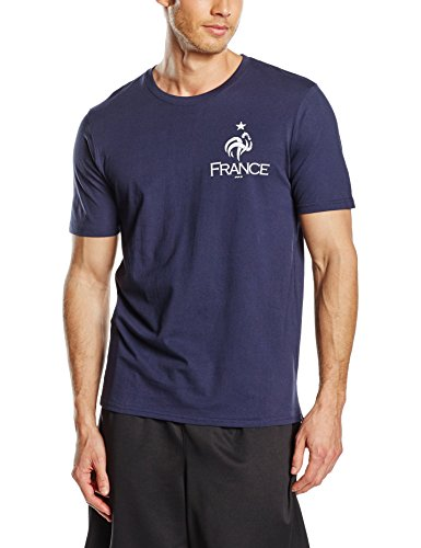 FFF TS Manches Courtes 100% Coton T-Shirt Homme, Bleu, FR : S (Taille Fabricant : S)
