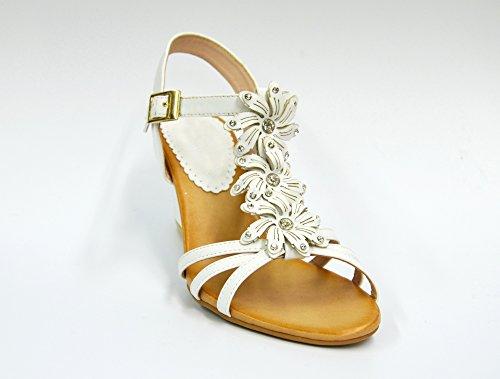 SHT27 * Sandales Nu-Pieds à Talon Compensé avec Multi-Brides Ornées de 3 Fleurs Strass - Mode Femme Blanc