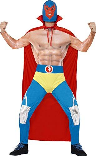 Imagen de smiffy's  disfraz de luchador mexicano, adultos, color rojo y azul 43667m
