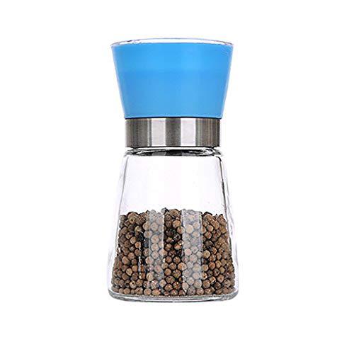 Pepper-Mühle Grinder, Adjustable Coarseness und gebürstete Glas Shaker Spice Container Condiment Jar Holder Grinding Bottle Kitchen Tools,Blue (Spice Jar-schleifer)