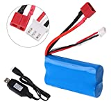 Crazepony-UK 2s Battery 7.4V 2000mAh Batterie 20C T Plug Connector with USB Battery Charger for RC Car off Road Truck Batteria