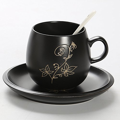 Byzr Kaffeetassen Amerikanische Keramik Tassen Löffel Liebende Männer Und Frauen Cups. Schwarz...