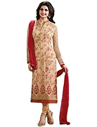 Generic Aryan Fashion Women's Georgette Long Anarkali Dress (Beige, Bottom-Unstitched)