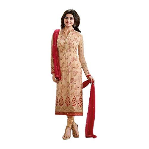 Generic Aryan Fashion Women's Faux Georgette Semi-Stitched Salwar Kameez (Cream, Bottom-Unstitched)
