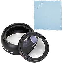 super44day HD 52MM 0.45x Lente de conversión gran angular + Macro Close Up lente + funda + tapas para Canno EOS 700d 1200d 100d 70d 750d 5d 1100d 7d Nikon D3200D7200D3100, Sony, Pentax cámara con 52mm lente para pantalla plana