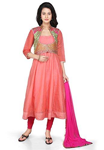 Utsav Fashion Plain Chanderi Jacket Anarkali Suit in Peach Colour