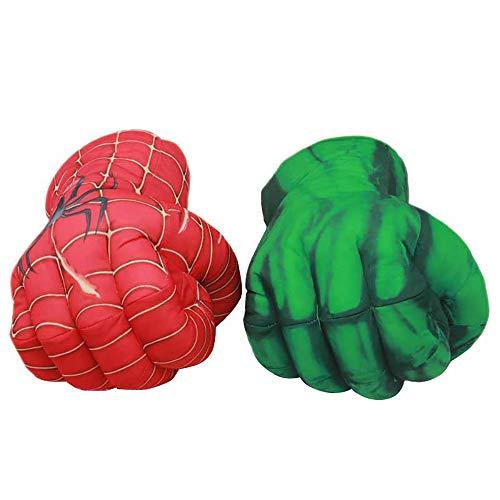 2 (Pcs) Kinder Spinnen Boxen Spielzeug Handschuhe Plüsch Hulk Handschuhe Hulk Kind Geburtstag Weihnachten Spielzeug Halloween Geschenk 11 (In),Oneredonegreen