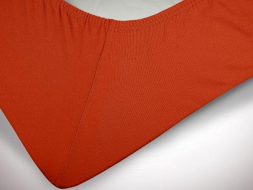 npluseins klassisches Jersey Spannbetttuch - erhältlich in 34 modernen Farben und 6 verschiedenen Größen - 100% Baumwolle, 90-100 x 200 cm, kaminrot - 6