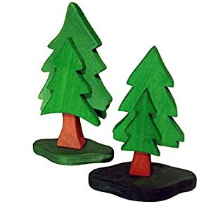 Tannenbäume aus Erlenholz, 2er Set