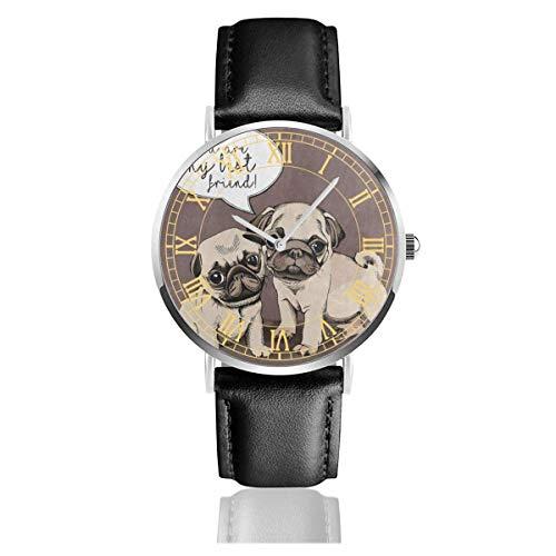 Süß Jack Russell Terrier schwarz quarzwerk Edelstahl Lederband Uhren Casual Fashion armbanduhren -