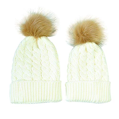 XXYsm Mutter und Baby Stricken Halten Warme Mütze Beanie Strickmütze Winter Gestrickte Hut Weiß - Stricken Jordan Hut