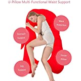 Baybee Full Body Pregnancy Pillow | Originally Pillow For Pregnant Women With Washable Cover | U Shaped Body Pillow | 100% Cotton Pillow Cover - Red