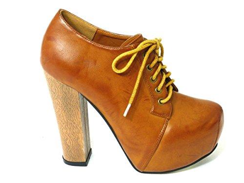 SKO'S , Sandales Compensées fille femme Tan Faux Leather (303)