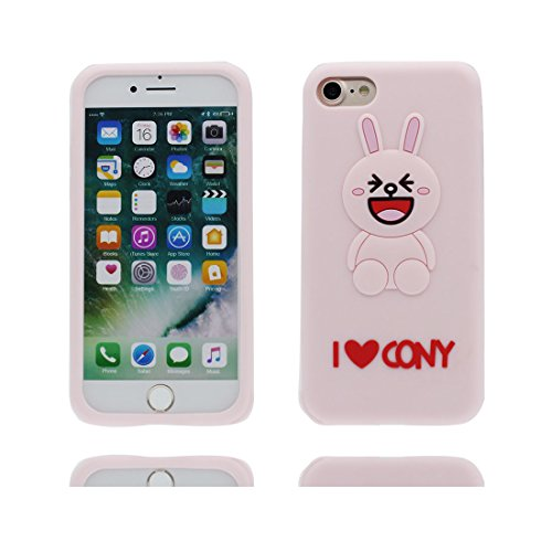 "Hülle iPhone 7 Plus Cover, Case iPhone 7 Plus Handyhülle, TPU Flexible Durable Shock Dust Resistant, Shell 3D Cartoon Hase Ohren, iPhone 7 Plus Cover 5.5"" rosa"