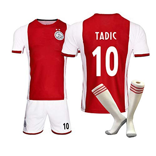 HEIPIYAYAYAYA Home Felpa da Calcio Rossa 2019/2020 Football Club Ajax Felpa da Calcio 10# TADIC Football Sportswear Top + Pantaloni + Calze (Bambini + Adulti),Child~24(30~35KG/130~140CM)