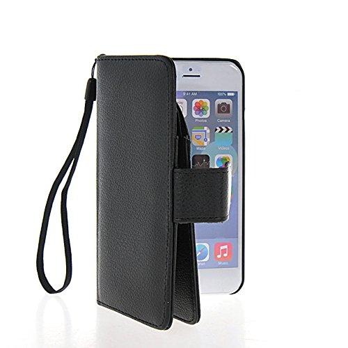 MOONCASE Coque en Cuir Portefeuille Housse de Protection Étui à rabat Case pour Apple iPhone 6 (4.7 inch) Blanc Noir