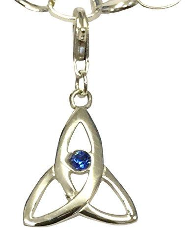 Celtic Trinity Geburtsstein Clip auf Charme mit einem Swarovski Set Aqua Marine Kristall–März (Girls Clip Auf Charme)