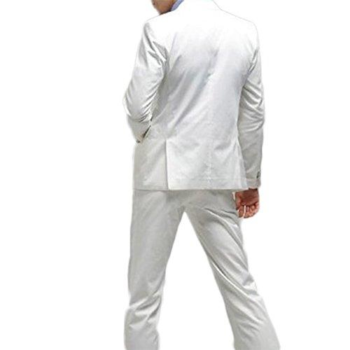 Costume Homme Formel Deux-Pièces Un Bouton Business Mariage Slim Fit Blazer Mode Elégant Classique Blanc