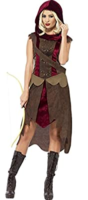 Ladies Huntress Medieval Throne Games Halloween Fancy Dress Costume Outfit 8-18