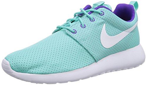 Nike Roshe Run, Chaussures de running femme Turquoise (White/Hyper Grape-Hyper Turq)