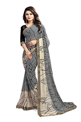 Ruchika Fashion Women's Georgette Saree with Blouse Piece, Free Size (Isha-Variations, Royal Blue)