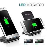 Qi Kabelloses Ladegerät,MuSheng Qi Wireless Fast Ladegerät Ultra Thin Mini LED Licht Lade Pad Stand Dock für Samsung Galaxy 8 + iPhone 8 / X (Schwarz)