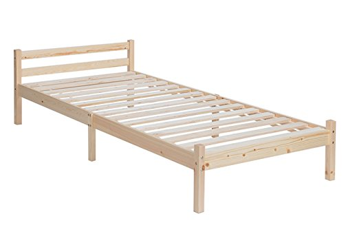 GreenForest Single Bed Frame 3ft Small Wooden Beds for Kids Furniture or Guest Room Pine Color