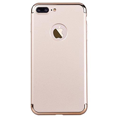 Cover per iPhone 7, VemMore Custodia in Placcatura Difficile Hard Plastica PC Case Ultra Sottile 3 in 1 Design Protezione Caso di Lusso Anti Graffio Antiurto Shockproof Protettiva Paraurti Bumper Shel Oro
