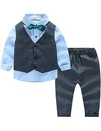 641fa6c9734bcf Kimocat Costume da Matrimonio Bambino Ragazzo Costume da Ragazzo d'Onore 4  Pezzi Camicia+ Panciotto + Pantaloni + Accessorio…