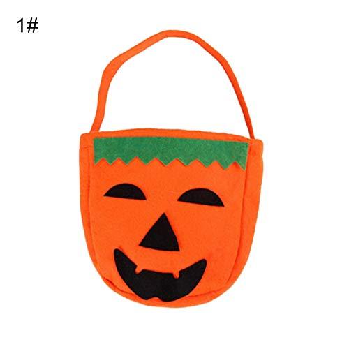 Kostüm Allerheiligen Muster - Muzhili3 Kinder Handtasche Kürbisbeutel Halloween Trick or Treat Smile Face Pumpkin Handtasche, Vliesstoff, 1#