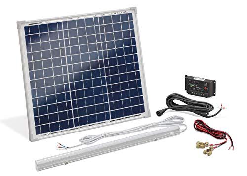 Solar Set 30W mit Laderegler und LED Leuchte für 12V Akkus Bausatz Solaranlage Inselanlage Camping, esotec 120006