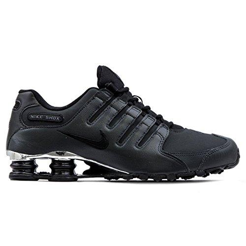 Nike Mens Shox NZ Premium Black Leather Trainers 45.5 EU