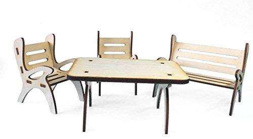 Petra's Bastel-News A-GMH06FS1 Tischgruppe, bestehend aus 1 x Tisch, 1 x Gartenbank und 2 Stühle aus Holz, 4-teilig