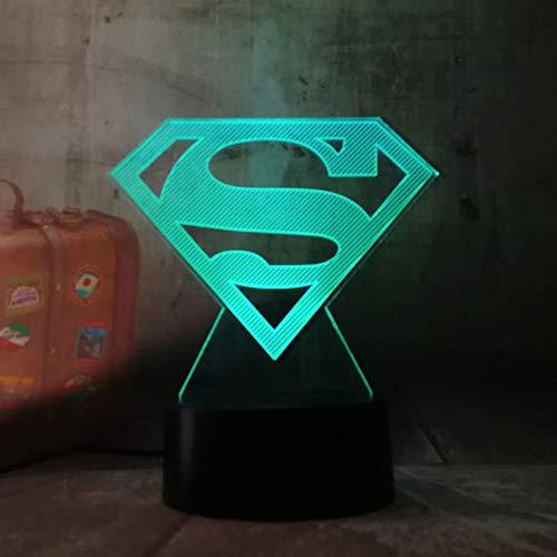 Veilleuse 3D 3D LED DC Superman Logo Symbole Lumière Nuit Table De Bureau Lampe 7 Changement De Couleur Lampe de Poche USB RGB Controler Jouet Enfants Cadeau
