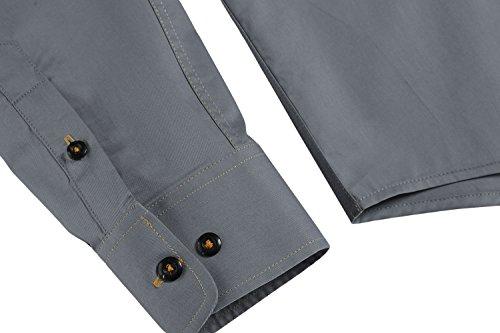 Burlady Herren Hemden Shirt Langarm Slim Fit Casual Business Kentkragen Hemd Grau