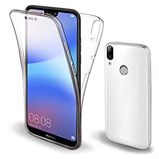 Moozy 360 Grad Hülle für Huawei P20 Lite - Vorne und Hinten Transparenter TPU Ultra Dünn Weiche Silikon Handyhülle Case