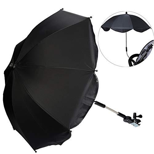 Kinderwagen Regenschirm Universal Sonnenschirm Sonnenschutz für Kinderwagen & Buggy UV Schutz 50+ Babywagen Schirm mit Universal Halterung mit 360° flexiblen Schwanenhals