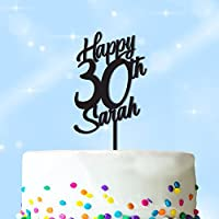 Happy Birthday Cake Topper PERSONALISED Cake Decoration Topper - Personalise with ANY NAME and with ANY AGE - Food Safe Cake Decoration - Made from Strong 3mm Coloured Acrylic - 7 Different Colours