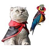 Morbuy Interesante Disfraz de Manto de Navidad, Capa roja Diverdido Cosplay Traje para Loro Perro Gato Cachorro Mascotas Halloween Navidad (Negro Rojo)