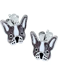 Sterling Silver French Bulldog Earrings - Silver & White