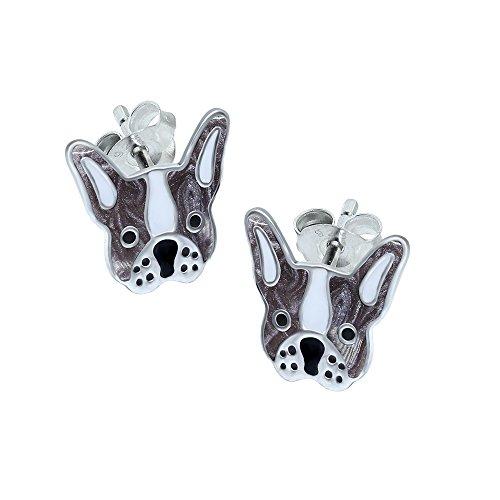 Ohrringe in Form einer französischen Bulldogge, Sterlingsilber –Silber & Weiß