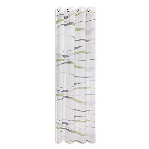 Tenda/tendaggio/telo/drappo con occhielli stripes / l/a:- 140x 245cm, semi trasparente, con righe trasversali stampate, con fascia con occhielli da 40mm verde