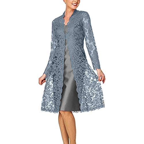 Luotuo Damen Mutters Kleid Spitzen Cardigan Chiffon Kleid Zweiteiliges Set Einfarbig Lange Ärmel Top Bluse Und Sling Rückenfrei Mittlere Länge Kleid Täglich Arbeit Business Casual Kleid